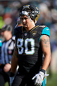 Jacksonville Jaguars James O'Shaughnessy (80) during an NFL Wild-Card football game against the Buffalo Bills, Sunday, January 7, 2018, in Jacksonville, Fla.  (Mike Janes Photography)