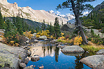 Longs Peak, Keyboard of the Winds, Glacier Gorge, stream, Glacier Creek, outlet to Mills Lake, fall, color, trees, forest, mountains, landscape, scenic, afternoon, Rocky Mountain National Park, Colorado, Rocky Mountains, USA