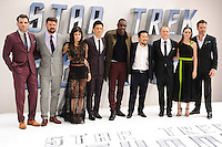 """Zachary Quinto, Karl Urban, Sofia Boudella, John Cho, Idris Alba, director, Justin Lin, Simon Pegg, Lydia Wilson and Chris Pine<br /> arrives for the """"Star Trek Beyond"""" premiere at the Empire Leicester Square, London.<br /> <br /> <br /> ©Ash Knotek  D3140  12/07/2016"""