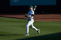 Charlotte 49ers right fielder Craig Keuchel (9) on defense against the Florida Atlantic Owls at Hayes Stadium on April 2, 2021 in Charlotte, North Carolina. The 49ers defeated the Owls 9-5. (Brian Westerholt/Four Seam Images)