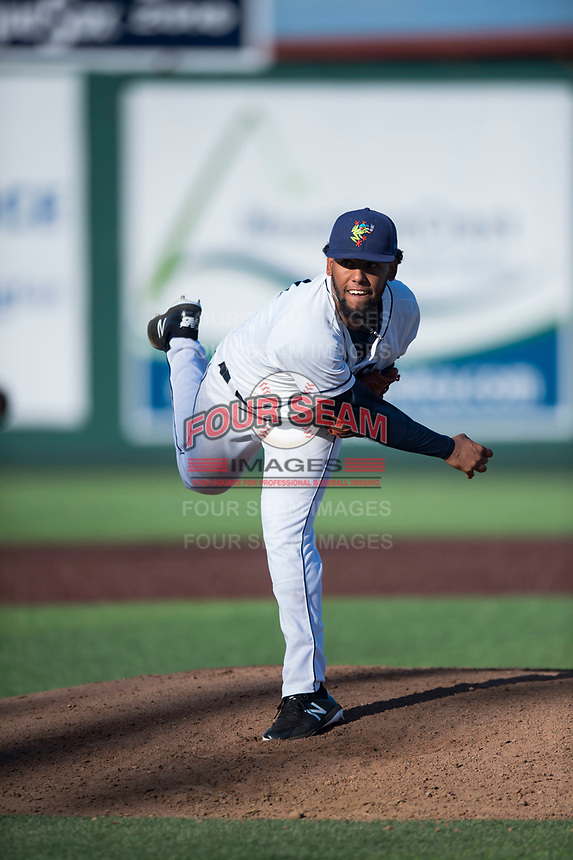 Everett AquaSox starting pitcher Elias Espino (21) follows through on his delivery during a Northwest League game against the Tri-City Dust Devils at Everett Memorial Stadium on September 3, 2018 in Everett, Washington. The Everett AquaSox defeated the Tri-City Dust Devils by a score of 8-3. (Zachary Lucy/Four Seam Images)