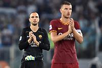 Pau Lopez qnd Edin Dzeko of AS Roma wave the fans <br /> Roma 01-09-2019 Stadio Olimpico <br /> Football Serie A 2019/2020 <br /> SS Lazio - AS Roma <br /> Photo Andrea Staccioli / Insidefoto