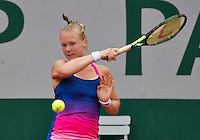 Paris, France, 01 June, 2016, Tennis, Roland Garros, Kiki Bertens (NED) in action during her round of 16 women's singles match against Madison Keys (USA)<br /> Photo: Henk Koster/tennisimages.com