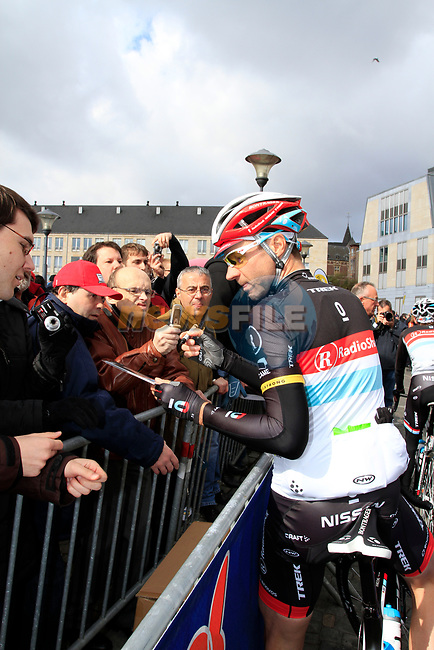 Jens Voigt (GER) Radioshack-Nissan at sign on before the start of the 98th edition of Liege-Bastogne-Liege outside the Palais des Princes-Eveques, running 257.5km from Liege to Ans, Belgium. 22nd April 2012.  <br /> (Photo by Eoin Clarke/NEWSFILE).