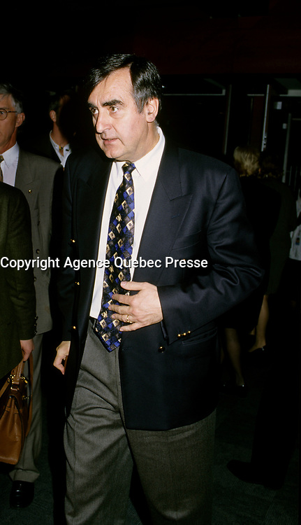 """Montreal (Qc) CANADA - File Photo - Dec 5th 1996 -<br /> <br /> Lucien Bouchard,  Leader Parti Quebecois (from Jan 29, 1996 to March 2, 2001). seen in a May 1996 file photo at ICAO (OACI) New headquarter opening in Montreal.<br /> <br /> After the Yes side lost the 1995 referendum, Parizeau resigned as Quebec premier. Bouchard resigned his seat in Parliament in 1996, and became the leader of the Parti QuÈbÈcois and premier of Quebec.<br /> <br /> On the matter of sovereignty, while in office, he stated that no new referendum would be held, at least for the time being. A main concern of the Bouchard government, considered part of the necessary conditions gagnantes (""""winning conditions"""" for the feasibility of a new referendum on sovereignty), was economic recovery through the achievement of """"zero deficit"""". Long-term Keynesian policies resulting from the """"Quebec model"""", developed by both PQ governments in the past and the previous Liberal government had left a substantial deficit in the provincial budget.<br /> <br /> Bouchard retired from politics in 2001, and was replaced as Quebec premier by Bernard Landry."""