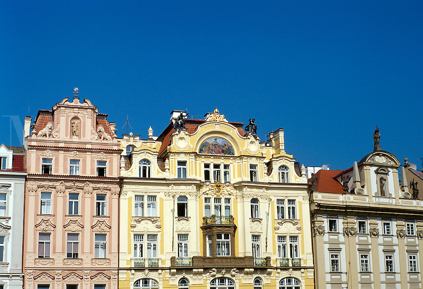 Old Town Square (Staromestke namesti). Baroque facades. 1030914 architecture. Prague Bohemia Czech Republic.