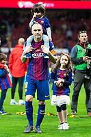FC Barcelona Andres Iniesta celebrating the championship during King's Cup Finals match between Sevilla FC and FC Barcelona at Wanda Metropolitano in Madrid, Spain. April 21, 2018.  *** Local Caption *** © pixathlon<br /> Contact: +49-40-22 63 02 60 , info@pixathlon.de