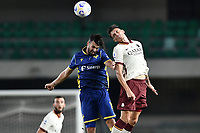 Roger Ibanez-Samuel Di Carmine <br /> Serie A football match between Hellas Verona and AS Roma at Marcantonio Bentegodi Stadium in Verona (Italy), September 19th, 2020. Photo Image Sport / Insidefoto