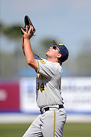 Michigan Wolverines infielder Kyle Jusick #34 during an exhibition game against the New York Mets at Tradition Field on February 24, 2013 in St. Lucie, Florida.  New York defeated Michigan 5-2.  (Mike Janes/Four Seam Images)