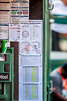 26 September 2018: The Lineup Cards are posted in the Washington Nationals dugout prior to a game against the Miami Marlins at Nationals Park in Washington, DC. The Nationals defeated the visiting Marlins 9-3, closing out Washington's 2018 home season. Mandatory Credit: Ed Wolfstein Photo *** RAW (NEF) Image File Available ***