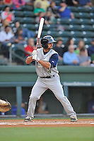Second baseman Vinny Siena (9) of the Columbia Fireflies bats in a game against the Greenville Drive on Friday, April 22, 2016, at Fluor Field at the West End in Greenville, South Carolina. Columbia won, 5-3. (Tom Priddy/Four Seam Images)