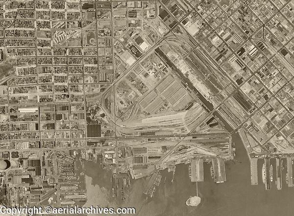 Historical aerial photograph of Mission Bay, San Francisco California, 1946
