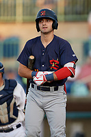 State College Spikes David Vinsky (11) bats during a NY-Penn League game against the Mahoning Valley Scrappers on August 29, 2019 at Eastwood Field in Niles, Ohio.  State College defeated Mahoning Valley 8-1.  (Mike Janes/Four Seam Images)