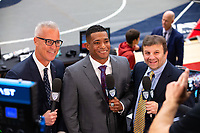 STANFORD, CA - March 7, 2020: TV personalities Daron Sutton, Anthony Robles, and Ken Chertow during the 2020 Pac-12 Wrestling Championships at Maples Pavilion.