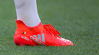 Michy Batshuayi of Chelsea personalised boot during the Barclays Premier League match between Chelsea and West Ham United at Stamford Bridge, London, England on 15 August 2016. Photo by Andy Rowland.