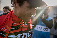 race winner Greg Van Avermaet (BEL/BMC) catching some last light post-race<br /> <br /> 1day race: Harelbeke › Harelbeke - BEL (206km)