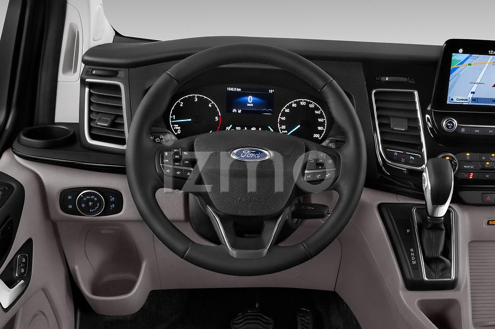 Car pictures of steering wheel view of a 2018 Ford Tourneo Custom Sport 5 Door Passenger Van