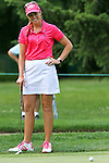 USA Paula Creamer reacts after missing her putt on the 8th hole at the LPGA Championship 2011 Sponsored By Wegmans at Locust Hill Country Club in Rochester, New York on June 24, 2011