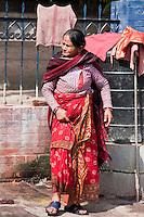 Kathmandu, Nepal.  Nepali Woman in Traditional Dress.