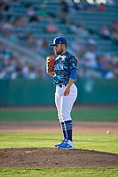 Ogden Raptors starting pitcher Antonio Hernandez (27) against the Rocky Mountain Vibes at Lindquist Field on July 5, 2019 in Ogden, Utah. The Raptors defeated the Vibes 6-4. (Stephen Smith/Four Seam Images)