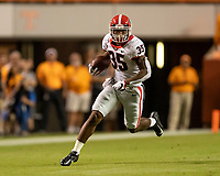 KNOXVILLE, TN - OCTOBER 5: Brian Herrien #35 of the Georgia Bulldogs carries the ball during a game between University of Georgia Bulldogs and University of Tennessee Volunteers at Neyland Stadium on October 5, 2019 in Knoxville, Tennessee.