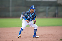 Ogden Raptors third baseman Kenneth Betancourt (9) during a Pioneer League game against the Billings Mustangs at Lindquist Field on August 17, 2018 in Ogden, Utah. The Billings Mustangs defeated the Ogden Raptors by a score of 6-3. (Zachary Lucy/Four Seam Images)