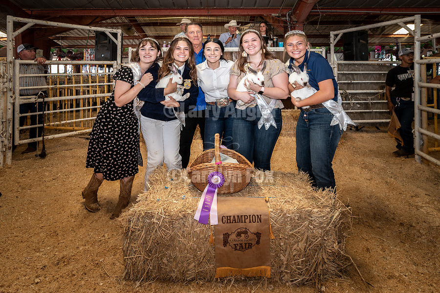 Kory White and her champion pen of rabbits, with Miss Amador Kasey White and her court during the 56th Junior Livestock Auction, Back in the Saddle Again, Sunday at the 82nd Amador County Fair, Plymouth, California<br /> .<br /> .<br /> .<br /> @AmadorCountyFair, #1SmallCountyFair, #VisitAmador, #PlymouthCalifornia, #AmadorCountyFair, #Best4DaysOfSummer, #AmadorCounty, #26thDAA