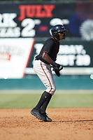 JC Encarnacion (1) of the Delmarva Shorebirds takes his lead off of second base against the Kannapolis Intimidators at Kannapolis Intimidators Stadium on May 19, 2019 in Kannapolis, North Carolina. The Shorebirds defeated the Intimidators 9-3. (Brian Westerholt/Four Seam Images)