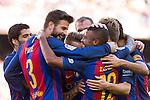 FC Barcelona's Rafinha Alcantara and Gerard Pique  during the La Liga match between Futbol Club Barcelona and Deportivo de la Coruna at Camp Nou Stadium Spain. October 15, 2016. (ALTERPHOTOS/Rodrigo Jimenez)