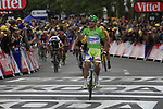 Peter Sagan (SVK) Liquigas-Cannondale takes his 2nd stage victory as he crosses the finish line of Stage 3 of the 99th edition of the Tour de France 2012, running 197km from Orchies to Boulogne-sur-Mere, France. 3rd July 2012.<br /> (Photo by Eoin Clarke/NEWSFILE)