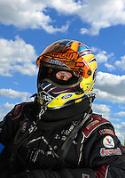 Sept 8, 2012; Clermont, IN, USA: NHRA funny car driver Tim Wilkerson during qualifying for the US Nationals at Lucas Oil Raceway. Mandatory Credit: Mark J. Rebilas-