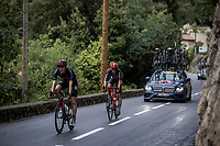 at the back of the race crash victims Pavel Sivakov (RUS/INEOS Grenadiers) & Steff Cras (BEL/Lotto-Soudal) try not to be 'too late'<br /> <br /> 107th Tour de France 2020 (2.UWT)<br /> (the 'postponed edition' held in september)<br /> Stage 1 from Nice to Nice 156km<br /> ©kramon