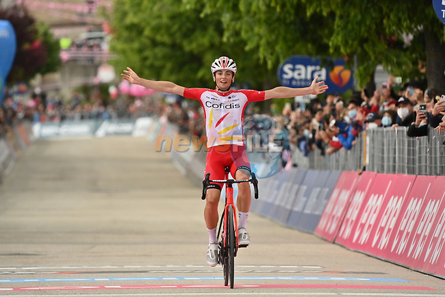 Victor Lafay (FRA) Cofiids from the breakaway wins Stage 8 of the 2021 Giro d'Italia, running 170km from Foggia to Guardia Sanframondi, Italy. 15th May 2021.  <br /> Picture: LaPresse/Gian Mattia D'Alberto | Cyclefile<br /> <br /> All photos usage must carry mandatory copyright credit (© Cyclefile | LaPresse/Gian Mattia D'Alberto)