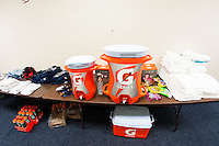 Gatorade in the locker room. The United States (USA) and Germany (GER) played to a 2-2 tie during an international friendly at Rentschler Field in East Hartford, CT, on October 23, 2012.