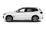 Car Driver side profile view of a 2018 BMW X3 M-Sport 5 Door SUV Side View