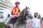 March 27, 2021: SPEAK IN COLOURS #9 in the post parade for the Al Quoz sprint on Dubai World Cup Day, Meydan Racecourse, Dubai, UAE. Shamela Hanley/Eclipse Sportswire/CSM