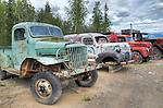 Vintage trucks from Canol Road construction during WW2. Norman Wells NWT.