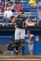 West Virginia Black Bears catcher Christian Kelley (16) during a game against the Batavia Muckdogs on August 31, 2015 at Dwyer Stadium in Batavia, New York.  Batavia defeated West Virginia 5-4.  (Mike Janes/Four Seam Images)