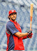 2 April 2011: Washington Nationals outfielder Michael Morse awaits his turn in the batting cage prior to a game against the visiting Atlanta Braves at Nationals Park in Washington, District of Columbia. The Nationals defeated the Braves 6-3 in the second game of their season opening series. Mandatory Credit: Ed Wolfstein Photo