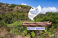 "A ""Waimea Valley"" Park sign, North Shore, O'ahu."