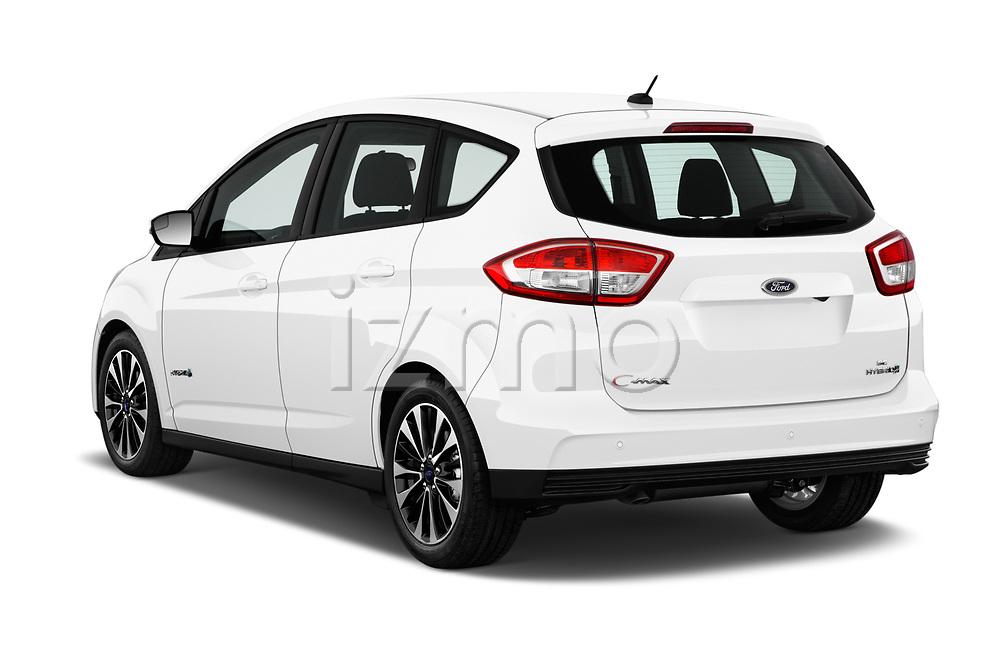 Car pictures of rear three quarter view of a 2017 Ford C-Max Hybrid Titanium 5 Door Mini Van angular rear