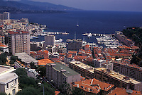Monaco, Aerial view of Monaco Harbor in the district of La Condamine in the Principality of Monaco along the Mediterranean Sea.