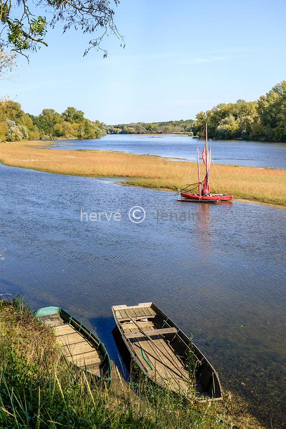 France, Cher, Berry, Saint Satur, the Loire river with boats and the tip of the Constant island // France, Cher (18), Berry, Saint-Satur, la Loire et la pointe de l'île à Constant