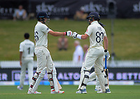 England batsmen Joe Root and Ollie Pope during day four of the international cricket 2nd test match between NZ Black Caps and England at Seddon Park in Hamilton, New Zealand on Friday, 22 November 2019. Photo: Dave Lintott / lintottphoto.co.nz