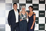 Spanish actor Alex Gonzalez and actress Hiba Abouk (R) pose during Sony promotion event photocall in Madrid, Spain. October 09, 2014. (ALTERPHOTOS/Victor Blanco)