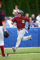 Mahoning Valley Scrappers outfielder Anthony Santander (27) scores a run during a game against the Batavia Muckdogs on June 22, 2015 at Dwyer Stadium in Batavia, New York.  Mahoning Valley defeated Batavia 15-11.  (Mike Janes/Four Seam Images)