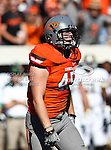 Oklahoma State Cowboys linebacker Caleb Lavey (45) in action during the game between the Baylor Bears and the Oklahoma State Cowboys at the Boone Pickens Stadium in Stillwater, OK. Oklahoma State defeats Baylor 59 to 24.