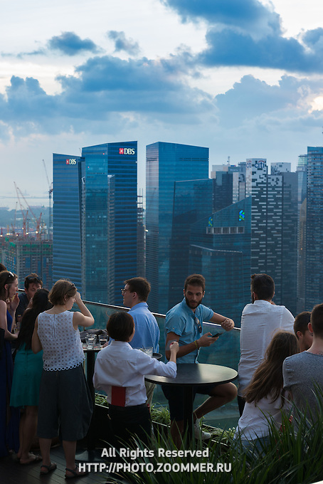 View from the bar of Marina Bay Sands hotel, Singapore