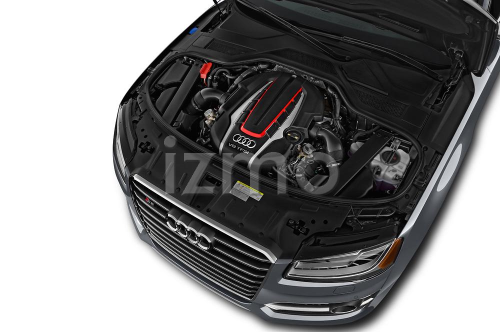 Car stock 2018 Audi S8 Plus quattro Tiptronic 4 Door Sedan engine high angle detail view