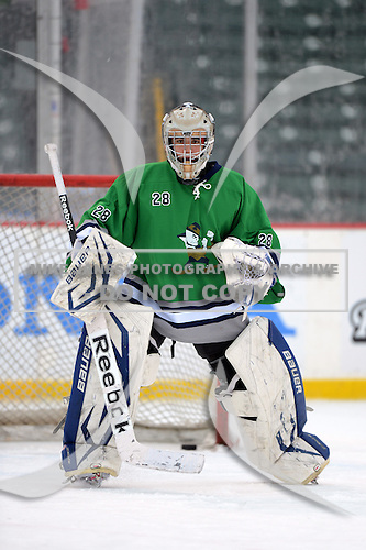 Notre Dame Fighting Irish of Batavia goalie Cam Majewski (28) during warmups before a varsity ice hockey game against the Brockport Blue Devils during the Section V Rivalry portion of the Frozen Frontier outdoor hockey event at Frontier Field on December 22, 2013 in Rochester, New York.  (Copyright Mike Janes Photography)